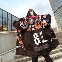 Zollrfea 2019 Nouveau mode Hip Hop Jackets Graffiti Imprimé à capuche Homme Manteaux d'hiver matelassée Manteau long Épaissir Hommes Vestes Parka