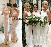 Um ombro champanhe dama de honra vestidos drapeados cetim longa marfim roxo vestidos de festa dama de honra vestidos de convidado de casamento