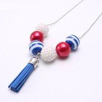 USA 4th July American Flag Necklace Fashion Kids Girls Chunky Bubblegum Beads Necklace Tassel Pendant Design Child Gift