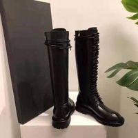 Kadın Ann Defilesi Podyum Boots Demeulemeester Diz Yüksek Boots Siyah Hakiki Deri Dantel-up Boyut Zip Lüks Yeni Ayakkabı