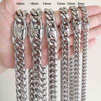 Мужчины Женщины кубинские цепи ожерелье браслет нержавеющей стали 316L Ювелирные наборы Отполированный Hip Hop Choker Link Double Safety застежками 8мм-18мм