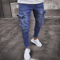 Männer Kleidung 2019 dünne Jeans Herren-Stretch-Denim-homme Rotos Pant Distressed Ripped Freyed Slim Fit Tasche Jean Hose LF806