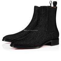 2019 Winter-Herbst-Männer Stiefel Marke Designer Red Bottom Ankle Boot Samson Orlato Männer Hochzeit Kleid Leder-Ebene-Schuhe Mid Stiefel Super-Qual