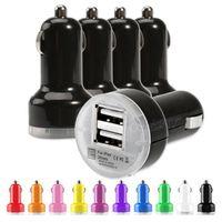 유니버설 자동차 어댑터 라운드 미니 다채로운 USB 2 포트 차량용 충전기 마이크로 듀얼 USB 어댑터 삼성 S20 구글 안드로이드 전화 GPS 태블릿