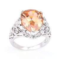 10 Pcs Lot Women's Wedding Jewelry Rings Newest Cut Pear shape Morganite Gems 925 Sterling Silver Plated Shiny CZ Ring Jewelry