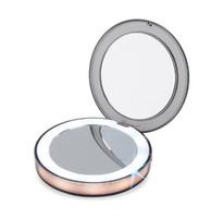 新しいLEDライドミニメイクアップミラー3倍の拡大コンパクト旅行携帯用検知照明化粧ミラーSK88
