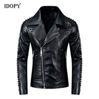 Jaquetas de couro punk dos homens idópicos Rebites pretos jaquetas de couro de moto studded gótico fino caber casaco para macho