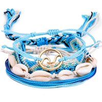 Charms regolabile Bracciale Shell tessuto mano fortunato Linea braccialetto mano Uomini e Lucky Bracciale in pelle donne