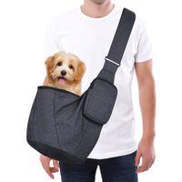 Viaje al aire libre del animal doméstico del perro del gato bolsa de transporte Mochila Cochecito honda con correa ajustable para perros pequeños
