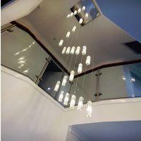 simple style chinois cristal long bloc LED villa escalier lampe pendentif double escalier tournant salon Pendentif d'éclairage