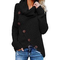 Women knitted pullovers Long Sleeve o neck Solid girl Pullov...