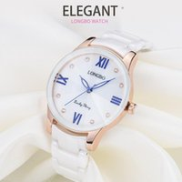 LONGBO Brief Shell Face Dial Ceramics Strap Watches Women La...