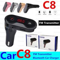 Transmisor FM multifunción C8 inalámbrica Bluetooth USB titulares Car Kit Adaptador Reproductor de MP3 Cargadores mini tarjeta del TF Auriculares manos libres modulador