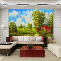 Europeos maderas paisaje de aceite pintura de paisaje vida sofá de regreso fondo del papel pintado TV pintado pared mural 3D tridimensional jardín