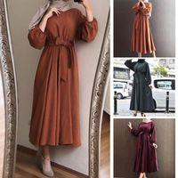 Abiti femminili Kaftan Dubai Plain Abaya Hijab musulmano abito caftano Qatar dell'Oman Abbigliamento islamico africano Arabia turco per le donne
