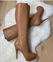 Коричневый Черный Подлинная кожа свадьба обувь Red Bottom ботинка для женщин обувь сапоги высокие сапоги Bianca Ботта Водонепроницаемая платформы на высоких каблуках