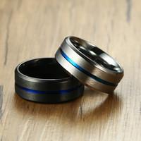 8mm superficie mate alianzas de boda de carburo de tungsteno anillo de los hombres Classic Negro Hombre Alianza regalo del aniversario comodidad de uso