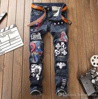 Fashion designer jeans mens Avengers stitching luxury jeans ...