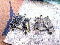 Antik Tibet bronz tonu Baykuş Charm kolye 35x35mm ait 18pcs