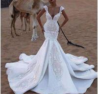 2020 حورية البحر فساتين الزفاف المملكة العربية السعودية زين الخامس الرقبة الرباط أثواب الزفاف الشاطئ قطار الاجتياح عارية الذراعين أثواب الزفاف بلينغ قطار طويل VB18