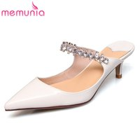 MEMUNIA 2020 fashion patent leather women pumps pointed toe crystal slip on sexy thin heel casual party shoes woman