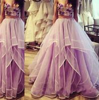 2020新しいページェントのドレスセクシーな2つのピースのドレスの刺繍デザインラフルされたチュールスカートイブニングドレス2018