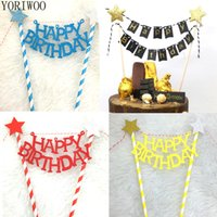YORIWOO Happy Birthday Cake Topper Flag Banner-Kuchen-Deckel 1. Geburtstags-Party-Dekorationen für Kinder Babyparty-Kuchen-Verzierung