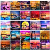 kits de la pintura 5D Diamond Beach DIY Copa del paisaje bordado de punto de cruz mosaico del Rhinestone completa arte de la pared de la lona representa la Plaza Home Decor