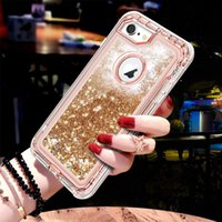 3 in1 TPU Bling Clear Quicksand Cas Pour Iphone XS Max XR 8 Plus 7 6S 360 Couverture Glitter Transparent Liquide Dur Protection Totale