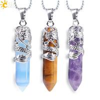12 Farben Naturstein-hängende Halsketten für Männer Frauen Tribal Totem Drachen Hexagon Einschuss Kristall Opal Tiger Eye Fashion Jewelry