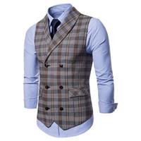 جديد اللباس سترات للرجال مزدوجة الصدر الرجال منقوشة دعوى سترة أزياء ضئيلة سترة الذكور صدرية الرجال جيليه أوم سترات ل