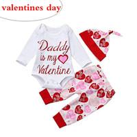 Baby Designer 2019 Girls Saint Valentin Tenues Little Girls Vêtements Ensembles Boutique Toddler Rompers à manches longues Chapeaux de coeur rouge Pantalons 3PC Set
