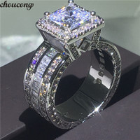 choucong Vintage Court Ring 925 sterling Silver Princess cut...