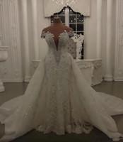 2020 Sirena de lujo Boda Dressess Falda desmontable Brillantes Lentejuelas Cristales Beads Apliques Sheer Cuello sin respaldo Vestidos de novia largos