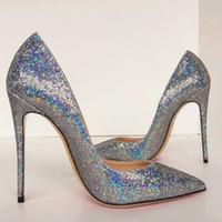 2020 moda verão Mulheres Bombas sapatos casamento glitter prata ponto toe noiva saltos altos de couro genuíno foto real marca 12 centímetros 10 centímetros novas