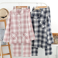 Man and Woman 100% Cotton Double- layer Gauze Pajamas Long- sl...