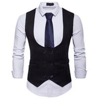 2018 مزدوجة الصدر للرجال سترة رجال U الرقبة بدلة عادية اللباس الصدرية وليمة عرس العمل مكتب الملابس