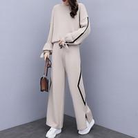 YICIYA eşofman kadın örgü 2 parça set kıyafet spor spor ko-ord seti pantolon takım elbise ve üst kış örme giyim
