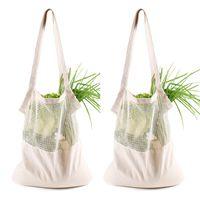 Portable Storage Bag Reusable String Shopping Fruit Vegetables Grocery Bag Shopper Tote Mesh Net Woven Cotton Storage Bags DHL WX9-1579