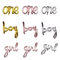 One Boy Girl Script Foil Balloon Baby Shower 1 ° Birtdhay Party Decorations Sesso Reveal Balloon Banner Decoration QW9708