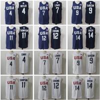 Hombre 2016 USA Jerseys de baloncesto Sueño Equipo 4 Stephen Curry Kyle Lowry Demar Derozan Thompson Demarcus primos Harrison Barnes Draymond Green