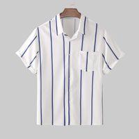 erkekler Yaz Düğme Aşağı Erkek Bluz Üst kombinezon homme için erkek gömlek camisa Casual Gevşek Kısa Kollu gömlek yazdır çizgili