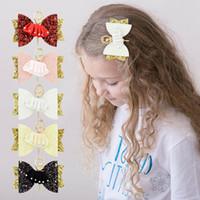 Pinzas para el cabello de ballet de lentejuelas para niñas Adorable moda para niños Brillo de cristal Bowknot Barrettes Accesorios para el cabello de fiesta para niños favorecen TTA1018
