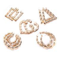 Big Kreis-Band-Ohrring-Frauen Hip Hop Große Weinlese Bambus Geometry baumeln Ohrringe für Mädchen Fashion Schmuck Geschenk