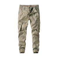 الخريف الرجال وزرة فضفاضة بنطلون للرجال حجم كبير متعددة جيب السراويل عارضة سستة فضفاضة على التوالي لون خالص