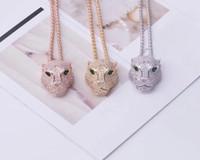 Vendita di modo della signora Women Ottone 18K lungo spesso collane con il diamante pieno Occhi verdi zircone leopardo testa pendente