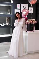 해변 A 라인 쉬폰는 다 SPOSA 2020 새로운 저렴한 웨딩 드레스 vestito 긴 소매 웨딩 드레스 신부 가운을 보헤미안