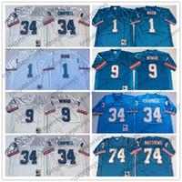 Мужские нефтяники NCAA # 9 Стив Макнайр светло-синий винтажный майки # 34 Эрл Кэмпбелл # 74 Брюс Мэтьюз # 1 Уоррен Луна Белый Сшитый Ретро Взрослый