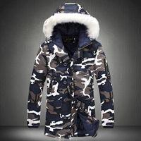 Дизайнер мужчины зимняя куртка камуфляж армия толстые теплые пальто Мужские пальто мужской моды с капюшоном топы мужчины M-5XL плюс размер