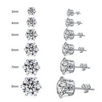 2020 Moda Crown CZ brincos por Mulheres clássico 3mm-8 milímetros Luminoso Ears Zircon Stud Brinco de Prata Cor For Men cristal jóias brincos